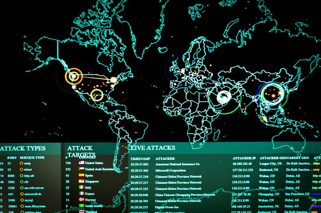 A computer-generated line map highlights points of cyber activity around the world.