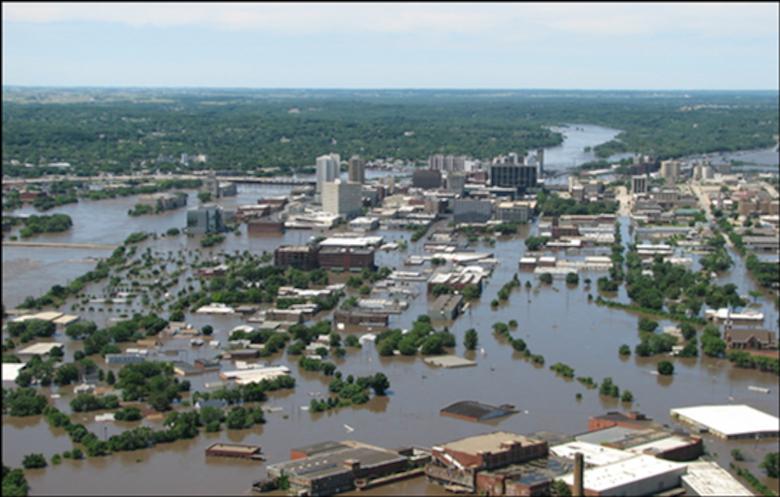 Downtown Cedar Rapids, Iowa, on June 13, 2008 during flood crest.