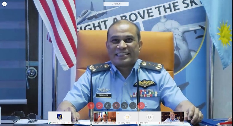 Royal Malaysian air force Maj. Gen. Mohd Shahada bin Ismail, Assistant Chief of Staff for Operation and Strategy Department at RMAF Headquarters, Kuala Lumpur (top middle) delivers his closing remarks during a virtual Airman-to-Airman Talks (A2AT) engagement September 14, 2020. The two air forces have participated in a number of engagements and exercises together since the early 1980s, the most recent being Exercise Cope Taufan 18 and the Langkawi International Maritime and Aerospace Exhibition 2019. (U.S. Air Force photo by Staff Sgt. Hailey Haux)