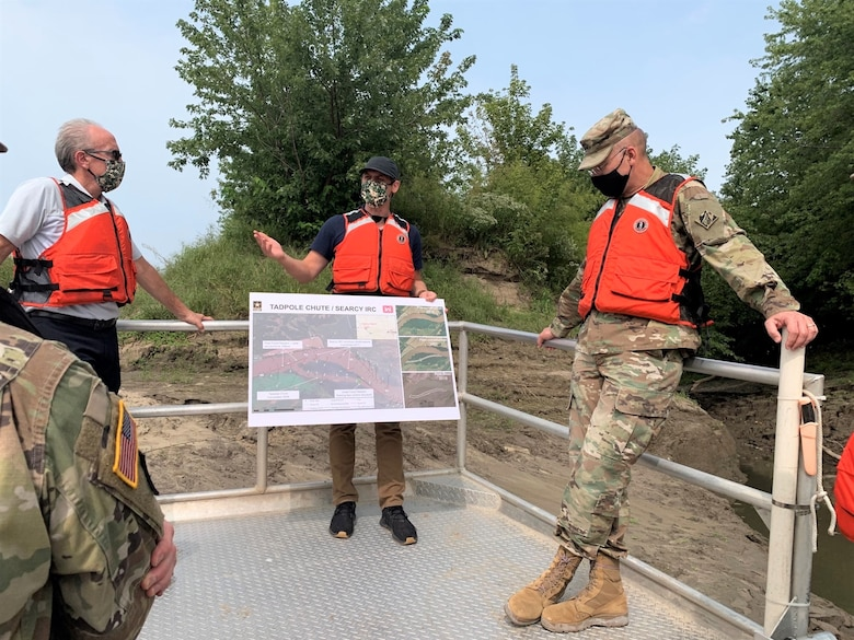 Dane Morris, Project Manager, explains damages to Tadpole Chute on the Missouri River to Maj. Gen. William H. Graham, Jr. and Stu Cook, Chief of the Operations Division, Kansas City District during a site visit on the Missouri River near Columbia, Mo. on September 15, 2020. Photo by Justin Hughes