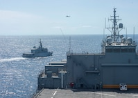 """USS Hershel """"Woody"""" Williams (ESB 4); Royal Moroccan Navy's Floreal-class Frigate Mohammad V; photo exercise"""