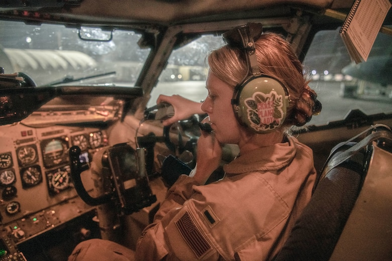 Lieutenant Col. Jeff Waterman, 968th Expeditionary Airborne Air Control Squadron, 968 EAACS director of operations, performs a pre-flight check on his oxygen mask before take-off at Al Dhafra Air Base, United Arab Emirates Sept. 15, 2020. Deployed Airmen from the 968 EAACS provide continuous Battle Management Command and Control for over 5,000 aircraft to include Defensive Counter Air, Close Air Support, Remotely Piloted Aircraft, Tanker, and Intelligence, Surveillance, and Reconnaissance assets. (U.S. Air Force photographer by Master Sgt. Patrick OReilly)