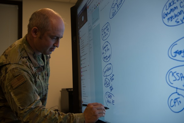 Maj. Scott Van De Water, chief of the Doctrine Outreach Division at the Curtis E. LeMay Center for Doctrine Development and Education, writes down notes taken from virtual participants of the Chennault Workshop 4, Aug. 24-25, 2020, at Maxwell Air Force Base, Alabama. The workshop brought together virtually and in-person nearly 75 warfighters, operators and planners from around the world to develop a better way to design integrated tasking orders, starting with one for the recently published doctrine Annex 3-1, Department of the Air Force Role in Joint All-Domain Operations. (U.S. Air Force photo by Airman 1st Class Jackson Manske)