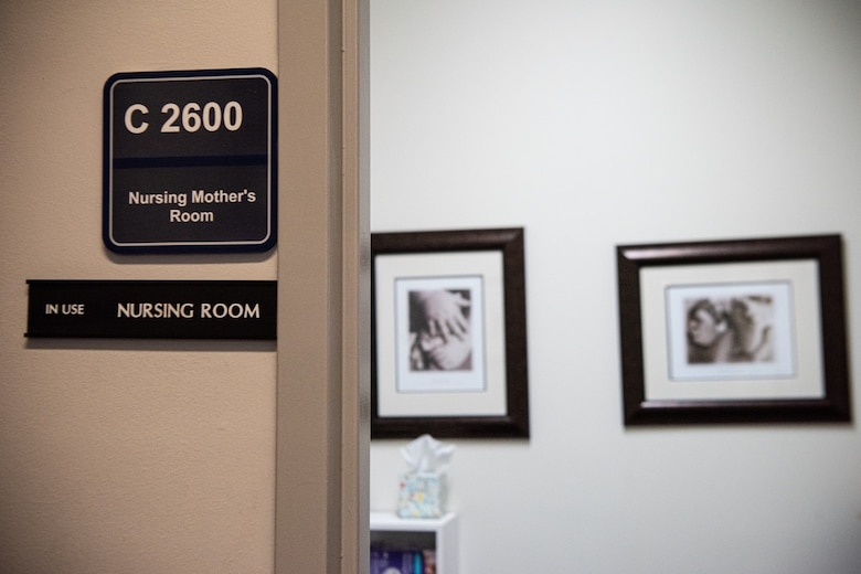 The nursing mother's room located in the Hartinger building on Peterson Air Force Base, Colorado, also known as Building One and currently home to many U.S. Space Force and U.S. Space Command personnel, is one example of how the Air and Space Forces support working mothers. In August 2019, the DAF released the initial lactation policy, which required commanders to provide nursing mothers with dedicated space in the immediate vicinity of the workplace for the purpose of pumping breastmilk. (U.S. Space Force photo by 2nd Lt. Idalí Beltré Acevedo)