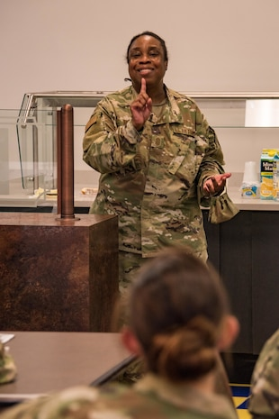 """Command Chief Master Sergeant  Robbin Moore discusses Airman resiliency, August 27, 2020 at New Castle Air National Guard Base, Del. This was CMSgt Moore's first monthly """"Chat n Chew"""" event for 166th Airlift Wing NCOs. (USAF photo by Mr. Mitch Topal)"""