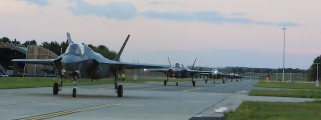 Five F-35B Lightning II Joint Strike Fighters with Marine Fighter Attack Squadron 211 (VMFA-211), Marine Aircraft Group 13, 3rd Marine Aircraft Wing, taxi at Royal Air Force Station Marham, United Kingdom (UK) on 03 September, 2020. VMFA-211 is training with UK's 617 Squadron at Marham in preparation for next year's inaugural, global deployment on the HMS Queen Elizabeth. The Navy-Marine Corps team is humbled and proud to represent the United States and serve alongside our British counterparts.