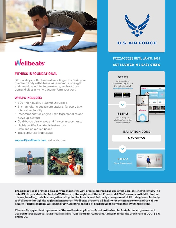 A flyer describing the partnership between Wellbeats and the Air Force.