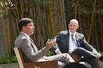 Defense Secretary Dr. Mark T. Esper (left) discusses National Defense Strategy implementation, particularly in regard to threats from China, at the RAND Corp. in Santa Monica, Calif., Sept. 16, 2020.