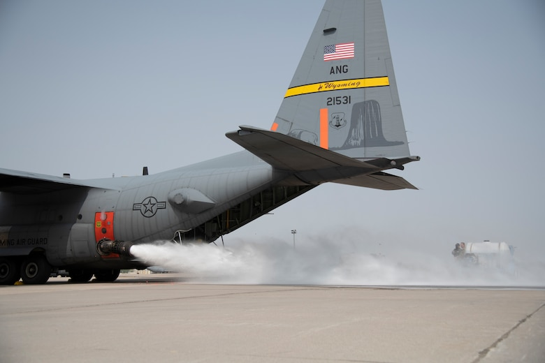 The 153rd Airlift Wing tested the Modular Airborne Fire Fighting System (MAFFS) at the Wyoming Air National Guard, Cheyenne, Wyo., Sept. 15, 2020. The unit was activated to assist fighting wildfires on the West Coast of the U.S.