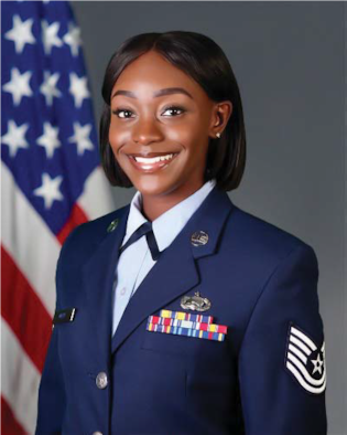 Tech. Sgt. Leah White, a personnel specialist assigned to Headquarters Air Reserve Personnel Center, poses for an official portrait. Recently, White was chosen as a recipient of the Aurora Chamber of Commerce Armed Forces Recognition award, which recognizes the top junior enlisted members in each of the services from within the local community for contributions to their missions. (Courtesy Photo)