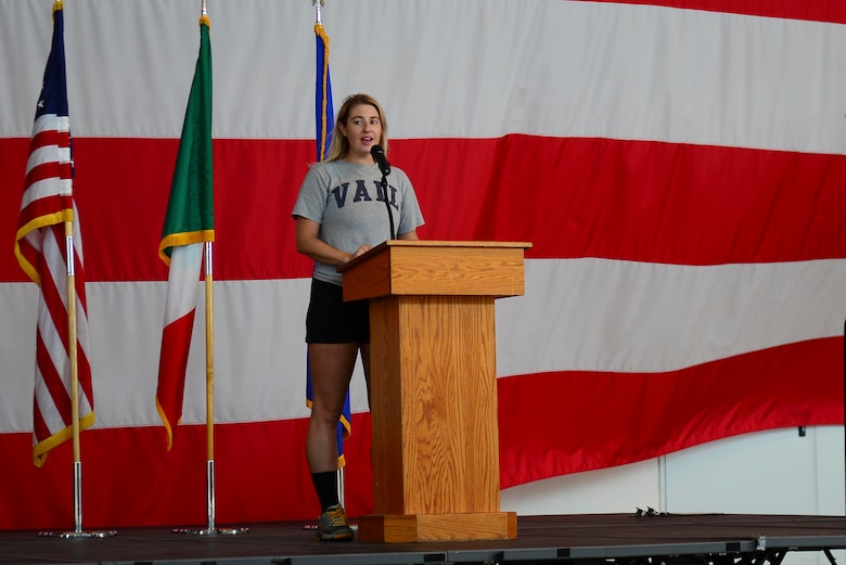 Senior Airman Kailen Kistler speaks at the Run for the Dream 5k event at Aviano Air Base, Italy, Sept. 12, 2020. Kistler organized the event after witnessing the video of George Floyd's death in May 2020. (U.S. Air Force photo by Tech. Sgt. Tory Cusimano)