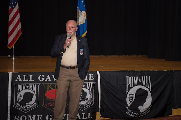 William Schwertfeger, retired U.S. Air Force Lt. Col., shares his story as a prisoner of war during the Vietnam conflict in 1972 at a POW/MIA Ceremony Sept. 17, 2020, at McConnell Air Force Base, Kansas. According to the Department of Defense Prisoner of War Missing Personnel Office, there are 1,657 personnel still missing from the Vietnam conflict. (U.S. Air Force photo by Airman 1st Class Marc A. Garcia)