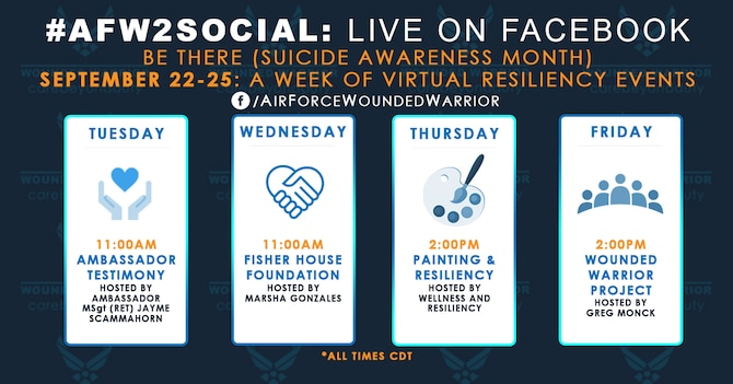 Graphic for the week of September 22-25 for AFW2 Live Facebook events. (U.S. Air Force Graphic by Melissa Espinales)