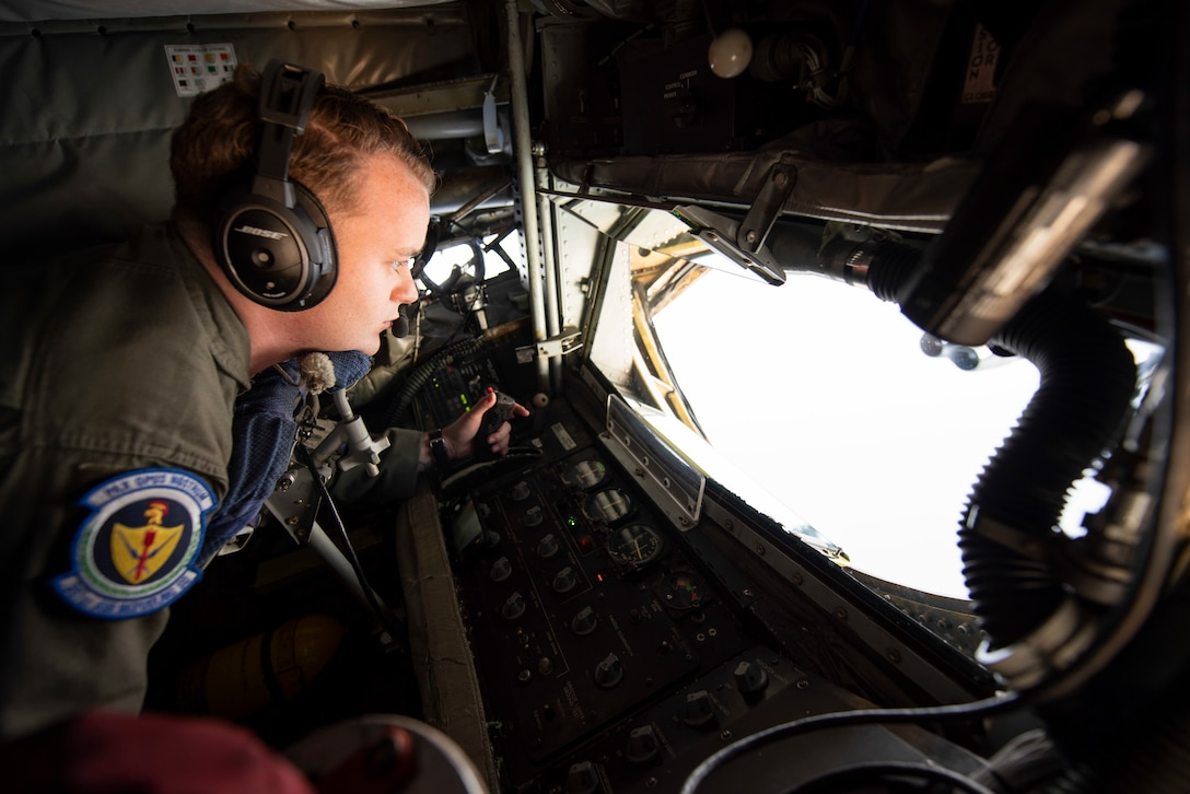 U.S. Air Force Staff Sgt. Blake Soule, 351st Air Refueling Squadron boom operator, performs a controllability and function check on the boom prior to air refueling above the Mediterranean Sea in support of a Bomber Task Force Europe mission, Sept. 16, 2020. The B-52H Stratofortresses are deployed to RAF Fairford, England, in support of joint and combined training with U.S allies and partners. (U.S. Air Force photo by Senior Airman Jennifer Zima)