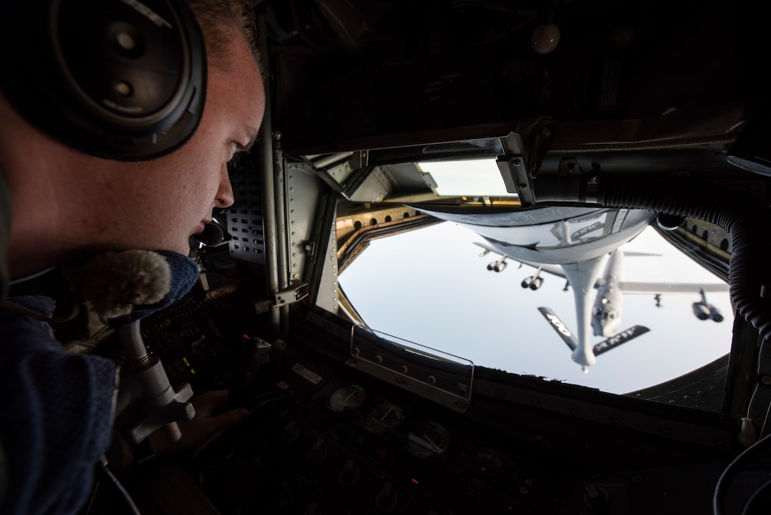 U.S. Air Force Staff Sgt. Blake Soule, 351st Air Refueling Squadron boom operator, conducts air refueling on a U.S. Air Force B-52H Stratofortress, assigned to the 5th Bomb Wing at Minot Air Force Base, North Dakota, above the Mediterranean Sea in support of a Bomber Task Force Europe mission, Sept. 16, 2020. The B-52s are deployed to RAF Fairford, England, in support of joint and combined training with U.S allies and partners. (U.S. Air Force photo by Senior Airman Jennifer Zima)