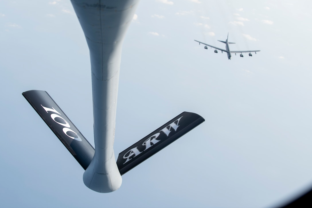 A U.S. Air Force B-52H Stratofortress, assigned to the 5th Bomb Wing at Minot Air Force Base, North Dakota, approaches a KC-135 Stratotanker from the 100th Air Refueling Wing, RAF Mildenhall, England, for refueling above the Mediterranean Sea in support of a Bomber Task Force Europe mission, Sept. 16, 2020. The B-52s are deployed to RAF Fairford, England, in support of joint and combined training with U.S allies and partners. (U.S. Air Force photo by Senior Airman Jennifer Zima)