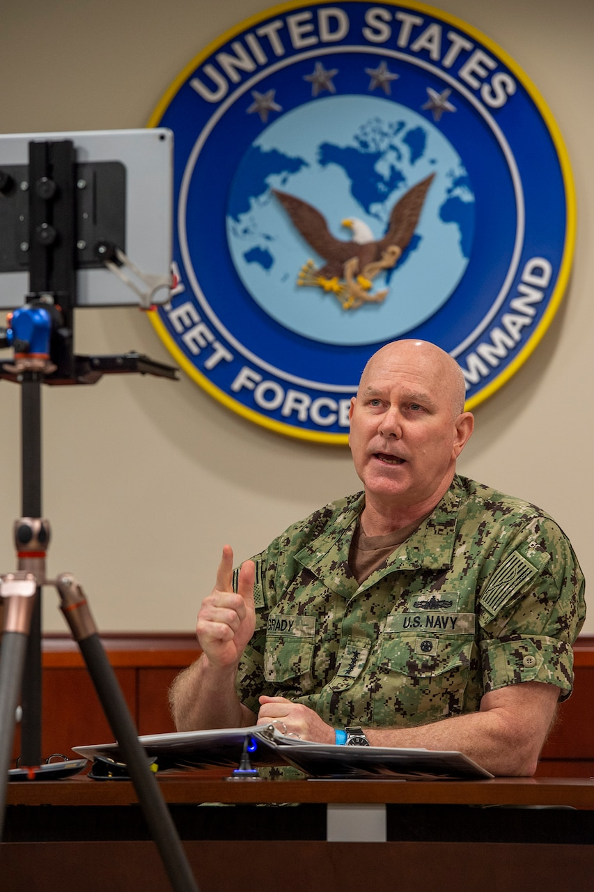 Adm. Christopher W. Grady, commander, U.S. Fleet Forces Command, delivers the keynote address during the American Society of Naval Engineers Virtual Fleet Maintenance and Modernization Symposium 2020, Sept. 17, 2020.
