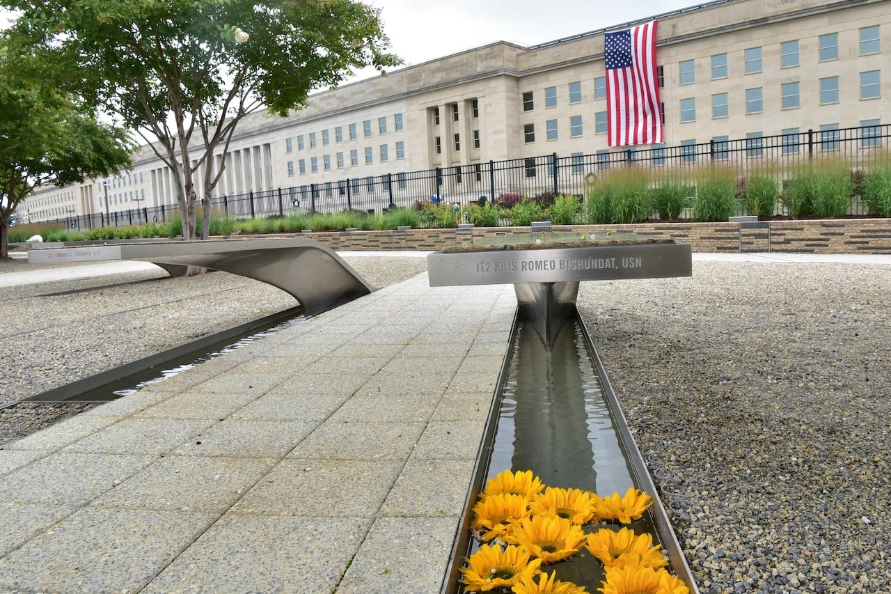 A wide shot of the National 9/11 Pentagon Memorial.