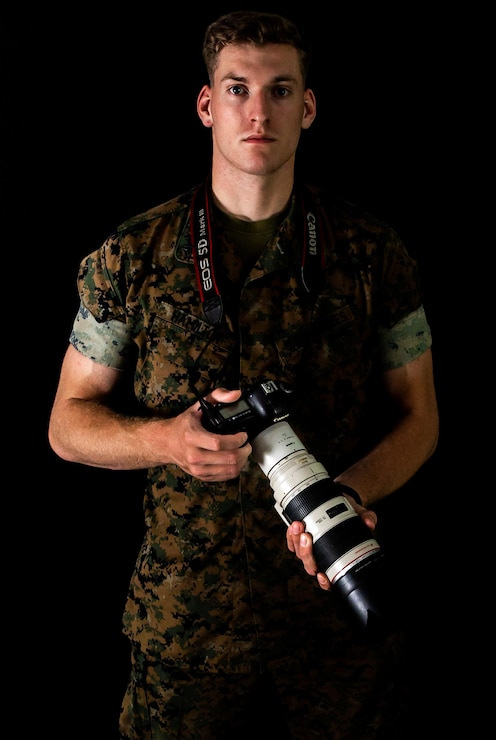 U.S. Marine Corps Cpl. Nathaniel Q. Hamilton, a native of Harve De Grace, Maryland, and a Combat Photographer with Headquarters Battalion, 2nd Marine Division, poses for a photo on Camp Lejeune, N.C., Sept. 17, 2020. Hamilton was chosen as the 2nd Marine Division motivator of the week for his outstanding leadership and unyielding motivation. (U.S. Marine Corps photo by Lance Cpl. Brian Bolin Jr.)