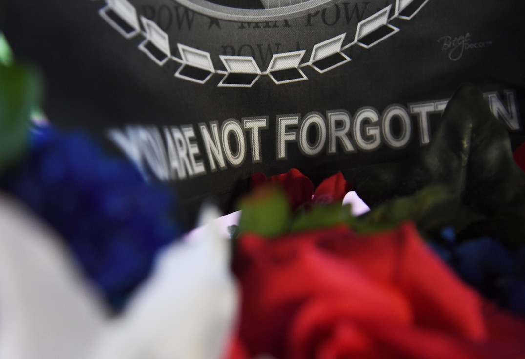 A wreath is displayed during the POW/MIA 12-hour memorial run and vigil at the Crotwell Track at Keesler Air Force Base, Mississippi, Sept. 18, 2020. This event is held annually to raise awareness and pay tribute to all prisoners of war and the military members still missing in action. (U.S. Air Force photo by Kemberly Groue)