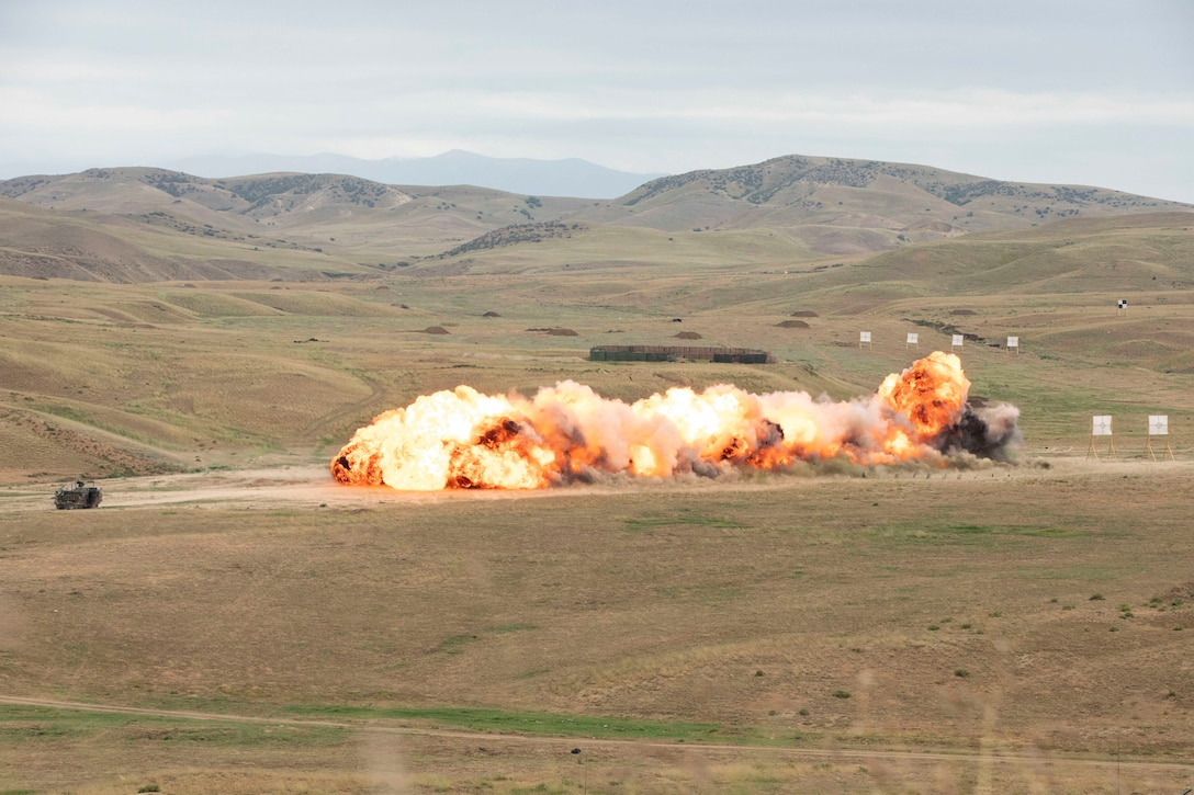 A mine causes a large explosion in a field during training.