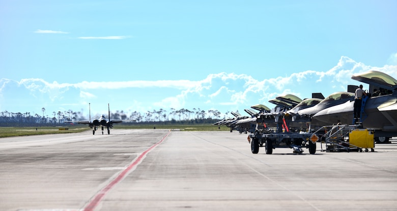 A U.S. Air Force F-15 Eagle taxis the runway at Tyndall Air Force Base, Florida, Sept. 18, 2020. The aircraft and aircrew participated in a Weapons System Evaluation Program held at Tyndall on behalf of Air Combat Command to evaluate the functionality of the weapons system for air-to-air and air-to-ground missions. (U.S. Air Force photo by Senior Airman Stefan Alvarez)