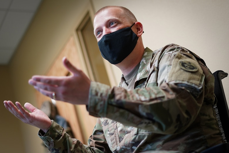 Army Sgt. Richard Walburn, a native of Columbia, SC, and a pianist assigned to the 9th Army Band, 17th Combat Sustainment Support Battalion, U.S. Army Alaska, talks about his unit's mission at its headquarters on Joint Base Elmendorf-Richardson, Alaska, Sept. 17, 2020.