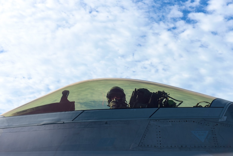 U.S. Air Force Capt. Nichole Ayers with the 27th Fighter Squadron assigned to Joint Base Langley-Eustis, Virginia, finishes prepares to taxi the runway in an F-22 Raptor at Tyndall Air Force Base, Florida, Sept. 18, 2020. Ayers and many others from Air Combat Command traveled to Tyndall for a Weapons System Evaluation Program to practice and troubleshoot air-to-air and air-to-ground weapons system functions. (U.S. Air Force photo by Staff Sgt. Magen M. Reeves)