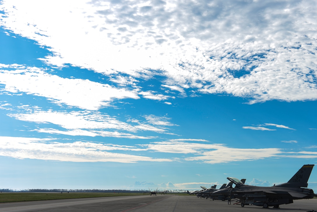 Approximately 45 U.S. Air Force F-22 Raptor and F-15 Eagle aircraft from Joint Base Langley-Eustis, Virginia, Nellis Air Force Base, Nevada, and Seymour Johnson Air Force Base, North Carolina, participate in a Weapons System Evaluation Program at Tyndall Air Force Base, Florida, Sept. 18, 2020. WSEP events are held regularly to practice and troubleshoot air-to-air and air-to-ground weapons system functions utilizing the invaluable air space Tyndall has to offer. (U.S. Air Force photo by Staff Sgt. Magen M. Reeves)