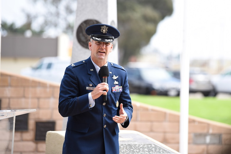 Col. Kris Barcomb, 30th Operations Group commander, gives final remarks during the Prisoner of War and Missing in Action Closing Ceremony Sept. 18, 2020, at Vandenberg Air Force Base, Calif. The first POW/MIA ceremony was held at the National Cathedral in Washington, D.C., after becoming an official recognition day in 1979 to honor the struggles of those missing. According to the Defense POW/MIA Accounting Agency, roughly 83,114 Americans from over five wars are missing in action, and 16,837 Americans died as prisoners of war. (U.S. Air Force photo by Senior Airman Hanah Abercrombie)
