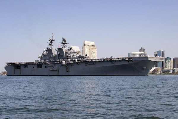 The Navy's newest America-class amphibious assault ship USS Tripoli (LHA 7) arrives at its new homeport at Naval Base San Diego. Tripoli is the second America-class amphibious assault ship to join the fleet. The ship was commissioned in Pascagoula, Miss., July 15, 2020. (U.S. Navy photo by Mass Communication Specialist 1st Class Woody S. Paschall