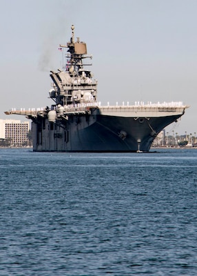 The Navy's newest America-class amphibious assault ship USS Tripoli (LHA 7) arrives at its new homeport at Naval Base San Diego.