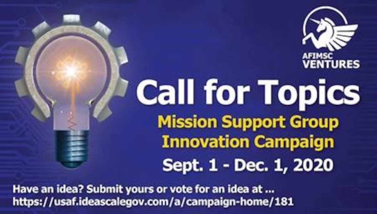 "The Air Force Installation and Mission Support Center has a ""Call for Topics"" now through Dec. 1 for its third annual Innovation Rodeo. The finals for the event, which normally takes place in San Antonio, will be held virtually this year due to the coronavirus pandemic. Winners of the Innovation Rodeo will earn a share of $1 million for their concept. (U.S. Air Force graphic by Jim Martinez)"