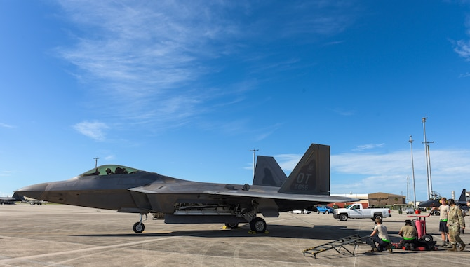 A U.S. Air Force F-22 Raptor Operational Test aircraft from Nellis Air Force Base, Nevada, prepares to taxi the runway during a Weapons System Evaluation Program held at Tyndall Air Force Base, Florida, Sept. 18, 2020. WSEP events are held regularly to practice and troubleshoot air-to-air and air-to-ground weapons system functions while also bringing together multiple Air Combat Command units from across the Air Force to gain real-world practice and build relationships with other units. (U.S. Air Force photo by Staff Sgt. Magen M. Reeves)