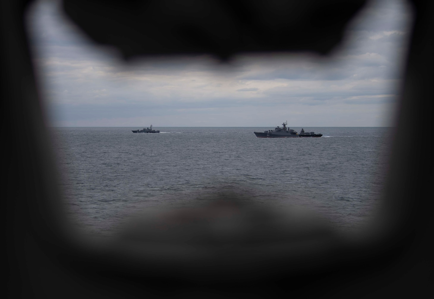 BLACK SEA (Sept. 20, 2020) Bulgarian Navy Koni-class frigates BGS Smeli (F-11) and BGS Bodri (F-13) participate in a passing exercise with the Arleigh Burke-class guided-missile destroyer USS Roosevelt (DDG 80), Sept. 20, 2020. Roosevelt, forward-deployed to Rota, Spain, is on its first patrol in the U.S. Sixth Fleet area of operations in support of regional allies and partners and U.S. national security interests in Europe and Africa.