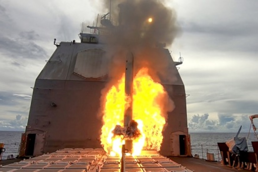 A missile launches from a ship