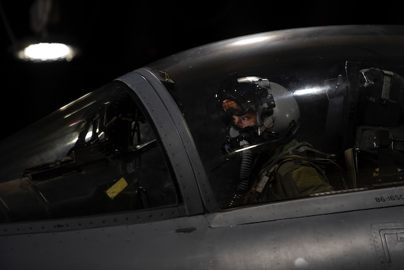 A U.S. Air Force pilot, assigned to the 493rd Fighter Squadron,  prepares to taxi to the flightline in support of exercise Astral Knight 2020 at Royal Air Force Lakenheath, England, Sept. 21, 2020. AK20 is focused on multinational Integrated Air and Missile Defense assets and will feature fighter and surface-based air defense integration against air and cruise missile threats. (U.S. Air Force photo by Airman 1st Class Jessi Monte)
