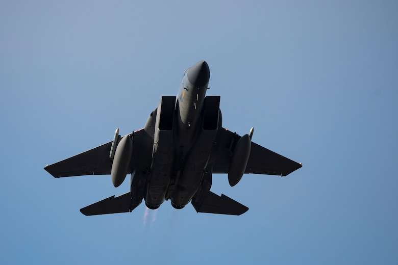 An F-15C Eagle, assigned to the 493rd Fighter Squadron, takes off in support of exercise Astral Knight 2020 at Royal Air Force Lakenheath, England, Sept. 21, 2020. AK20 is focused on multinational Integrated Air and Missile Defense assets and will feature fighter and surface-based air defense integration against air and cruise missile threats. (U.S. Air Force photo by Airman 1st Class Jessi Monte)