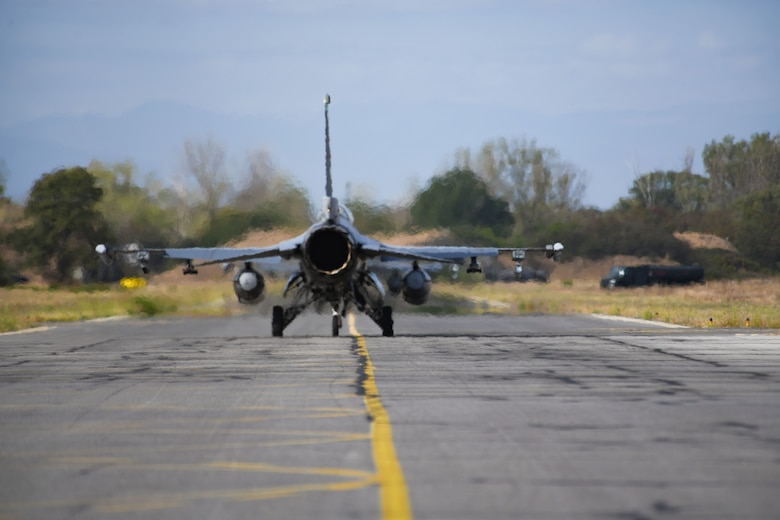 A U.S. Air Force F-16 Fighting Falcon assigned to the 555th Fighter Squadron, Aviano Air Base, Italy, taxis on the runway during exercise Thracian Viper 20 at Graf Ignatievo Air Base, Bulgaria, Sept. 21, 2020. Thracian Viper 20 provided an opportunity for U.S. Air Force Airmen to train with partners and NATO allies in order to improve interoperability and readiness. The exercise enhanced successful partnering activities, which result in progressive relationships that lead to tangible, mutual benefits during peacetime, contingencies and crisis, through actions such as regional security, access and coalition operations. (U.S. Air Force photo by Airman 1st Class Ericka A. Woolever)
