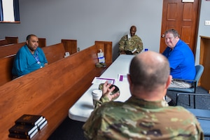 Members of the 911th Airlift Wing and 316th Expeditionary Sustainment Command attend a bible study at the Pittsburgh International Airport Air Reserve Station, Pennsylvania, Sept. 16, 2020.