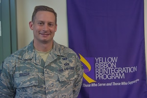 Master Sgt. Joseph Bridge, Yellow Ribbon representative with the 911th Airlift Wing, poses for a photo at the Pittsburgh International Airport Air Reserve Station, Pennsylvania, Sept. 17, 2020.