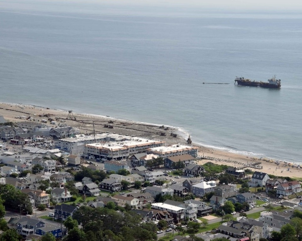 The U.S. Army Corps of Engineers Philadelphia Districts and its contractor conduct dredging and beachfill operations in Bethany Beach, DE in 2018. Work is designed to reduce the risk of storm damages to property and infrastructure.