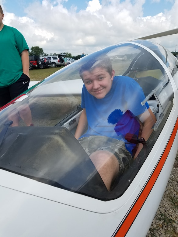 One of the 11 students who completed the Fly to Learn course over the summer takes a seat in one of the gliders Aug. 15, 2020, in Eagleville, Tenn. During the 10-week program, each student had the opportunity to take a glider flight with a glider pilot from the Eagleville Soaring Club. (Courtesy photo)