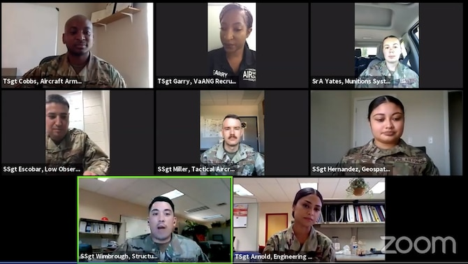 Military members in a virtual meeting
