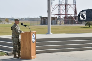 Colonel Brian Vlaun, 5th Bomb Wing vice commander, gives a speech Sep. 17, 2020, at Minot 