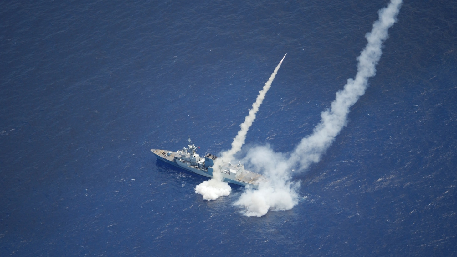 Royal Canadian Navy ship HMCS Regina (FFH 334)  fires two Harpoon Surface to Surface Missiles as part of Exercise Rim of the Pacific (RIMPAC) 2020