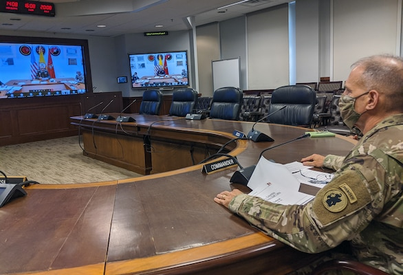 Maj. Gen. Daniel Walrath, U.S. Army South commanding general, provides closing remark to Gen. Eduardo E. Zapateiro, Colombian National Army commanding general, during the conclusion of the 11th U.S. – Colombia Bilateral Army Staff Talks, which was held virtually from Sept. 14-18. The staff talks seeks to promote bilateral efforts in order to develop professional partnerships and increase interaction between partner nation armies over a five-year plan.