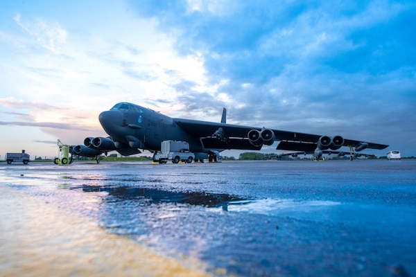 A B-52H Stratofortress assigned to the 23rd Bomb Squadron at Minot Air Force Base, N.D., is parked on the flight line at RAF Fairford, England, Aug. 28, 2020. The U.S. remains committed to our allies and partners and will decisively respond to threats in spite of the current COVID-19 crisis.