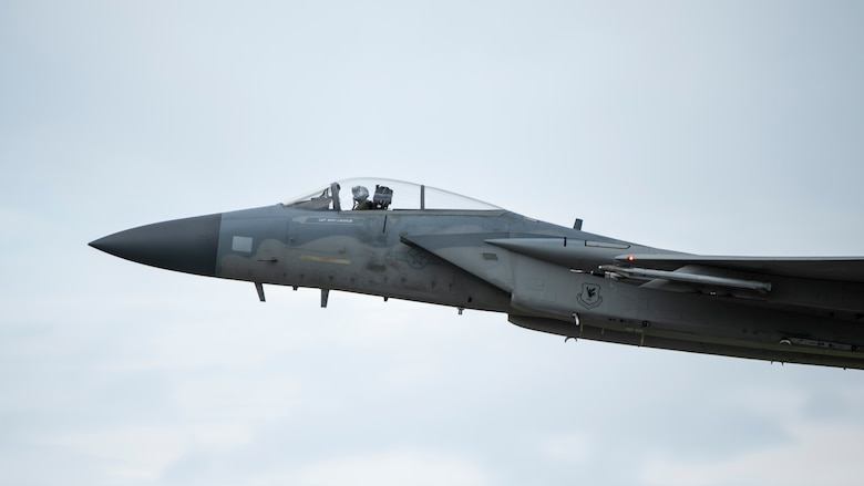 A U.S. Air Force 67th Fighter Squadron F-15C Eagle departs for a training mission Sept. 14, 2020, at Kadena Air Base, Japan. Team Kadena pilots train every day to ensure readiness and mission effectiveness to support a free and open Indo-Pacific.