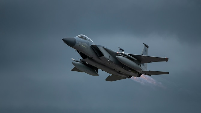 An F-15C Eagle departs for a training mission Sept. 14, 2020, at Kadena Air Base, Japan. Team Kadena pilots train every day to ensure readiness and mission effectiveness to support a free and open Indo-Pacific.